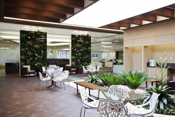 Plantas e áreas verdes no escritório