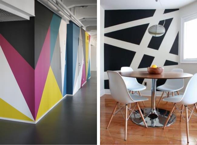 Pintura geom trica mais cor e modernidade para suas paredes - Pinturas para paredes ...