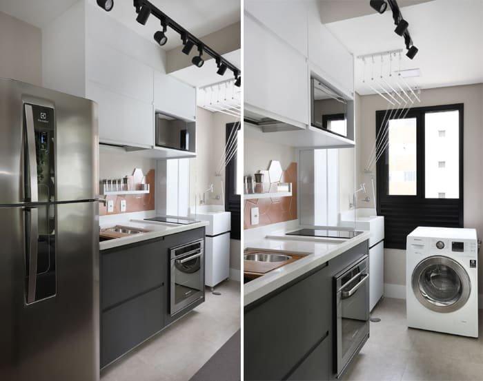 cozinha planejada integrada à área de serviço