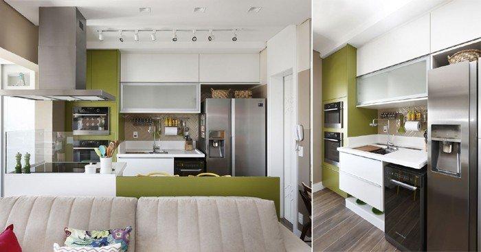 cozinha planejada integrada à sala de estar
