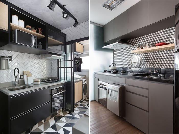 cozinha minimalista em tons de cinza