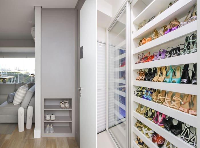 sapateira com prateleira em nichos e dentro do closet
