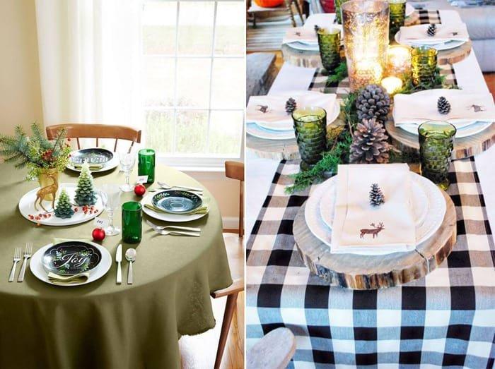 pinhas na decoração de mesa de jantar