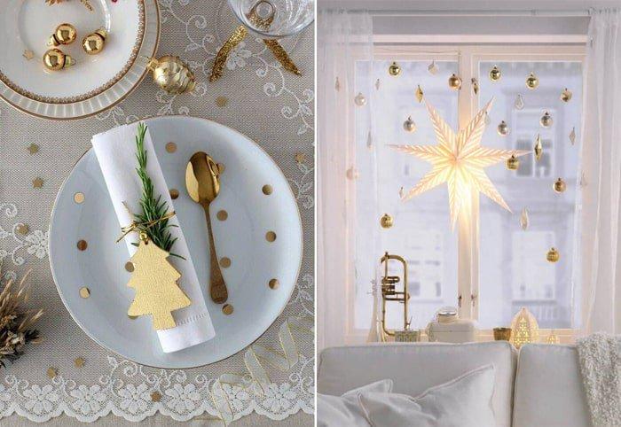 decoração com enfeites de natal dourados