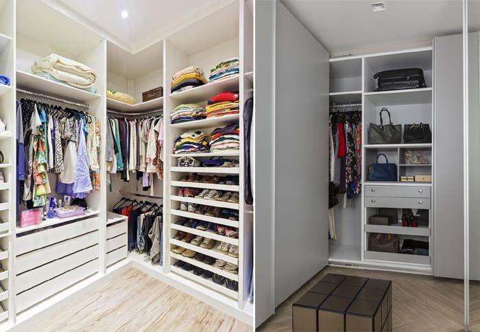 guarda roupas branco organizado