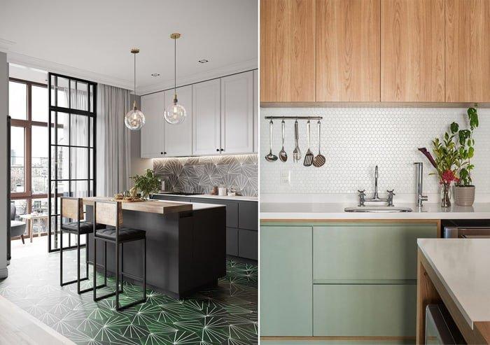duas cozinhas com detalhes em verde