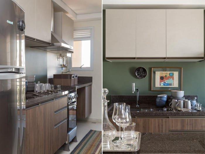 cor verde atras da pia da cozinha