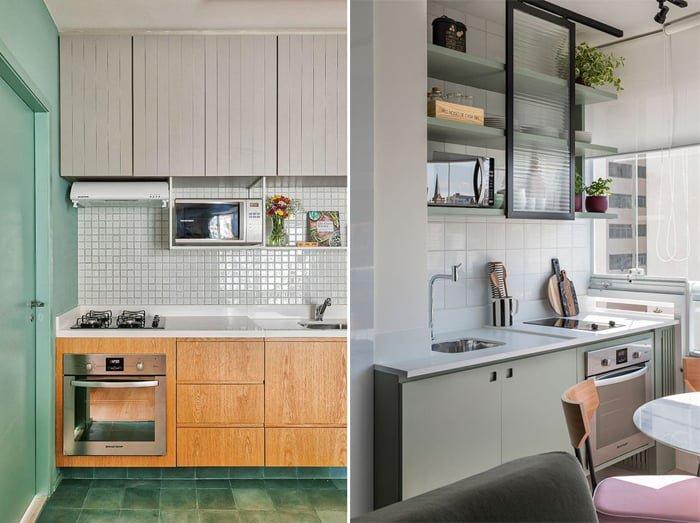 verde menta usado nos detalhes de cozinha monocromatica branca
