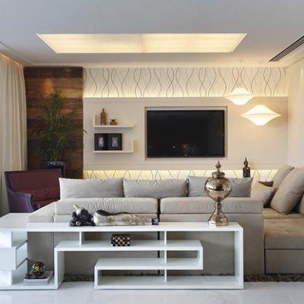 painel de tv com papel de parede