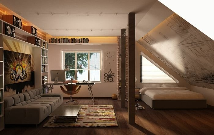 quarto com espaço para estudos
