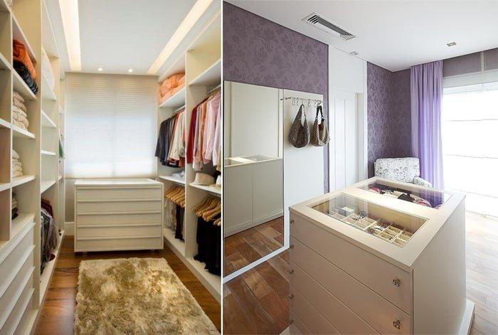 closet feminino com móvel para acessórios