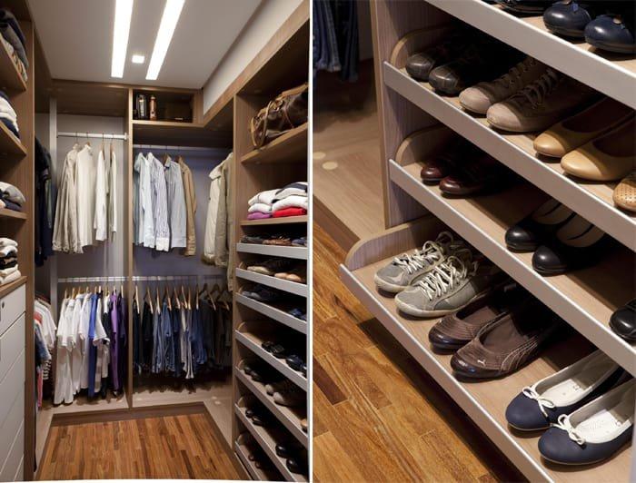 closet aberto com sapateira