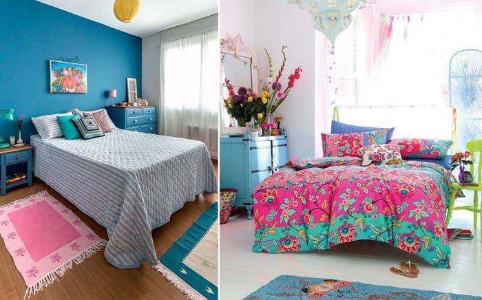 quarto de menina azul e rosa