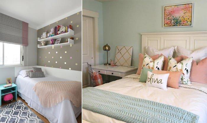 quarto de menina com detalhes azuis