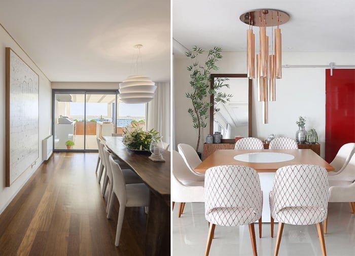 duas opções de decoração com branco e madeira