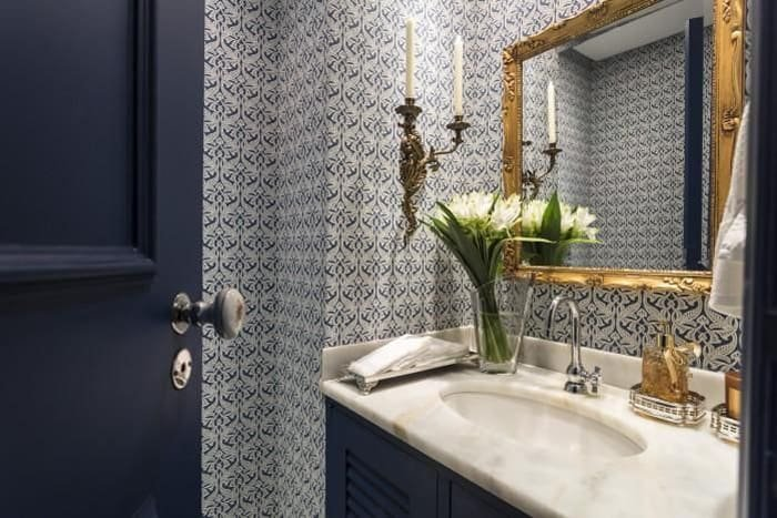 papel de parede no banheiro