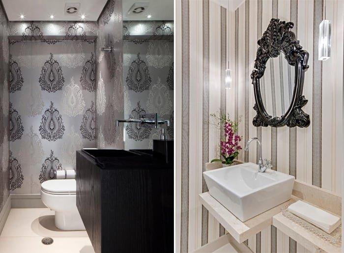 papel de parede estampado no banheiro