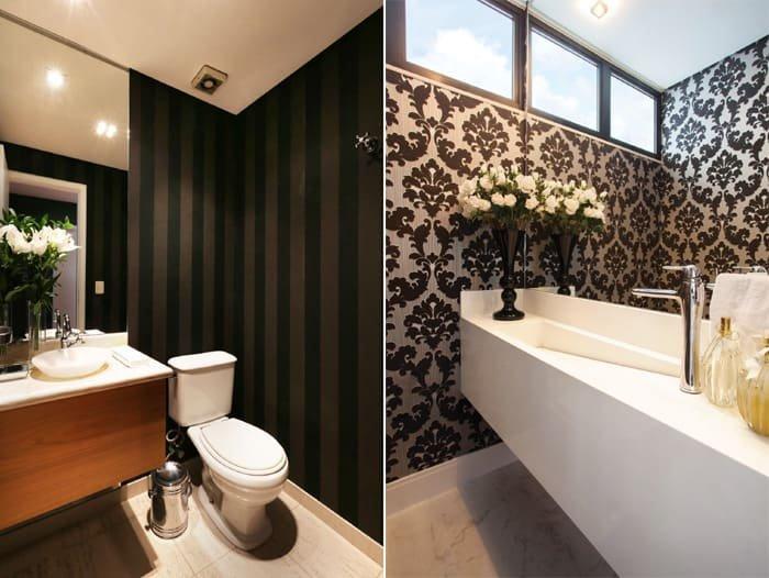 papel de parede preto no banheiro