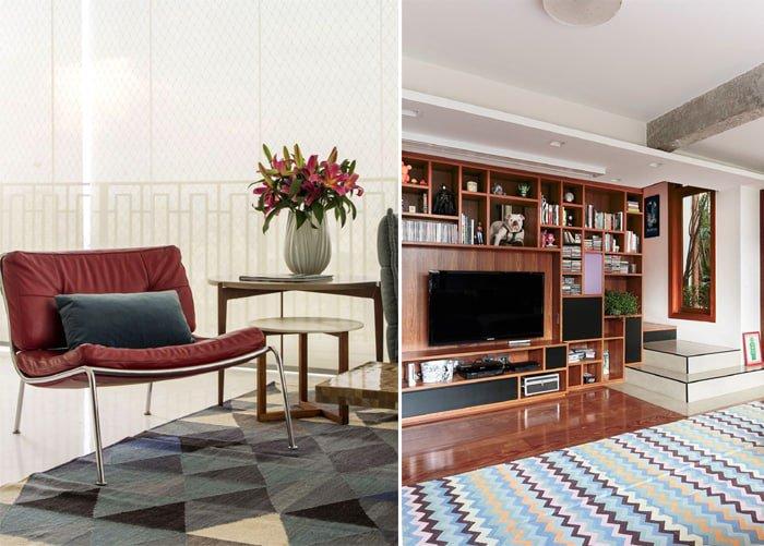 tapetes geométricos em cores neutras