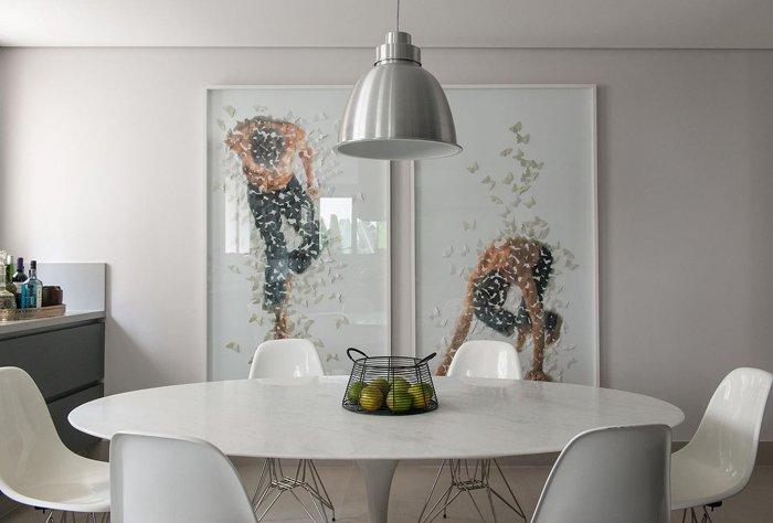 luminaria pendente na mesa de jantar