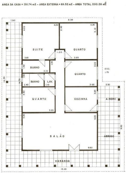 planta baixa de projeto de arquitetura