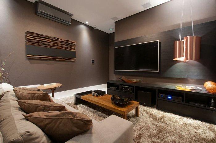 rack para tv de madeira escura