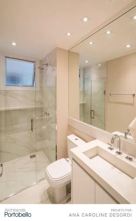 iluminação de banheiro com spots embutidos